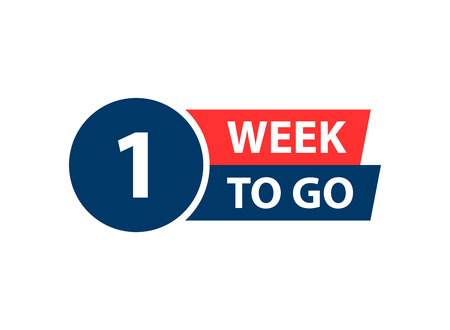 Número 1 de la semana que queda para ir. Venta de insignias de colección, página de destino, banner Ilustración de vector
