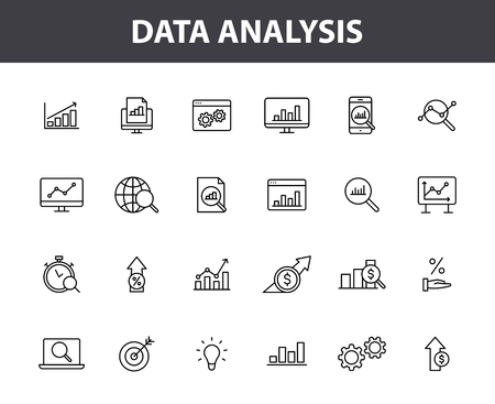 Set of 24 Data Analysis web icons in line style. Graphs, Analysis, Big Data, growth, chart, research. Vector illustration 矢量图像