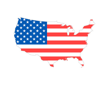 Blank similar USA map isolated on white background. United States of America country. Vector template for website, design, cover, infographics. Graph illustration