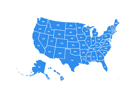 Blank similar USA map isolated on white background. United States of America usa country. Vector template usa for website, design, cover, infographics. Graph illustration