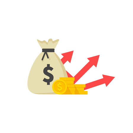 Income increase strategy, Financial high return on investment, fund raising, revenue growth, interest rate, loan installment, credit money, budget balance. Vector illustration