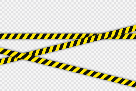 Creative Police line black and yellow stripe border. Concept of barricade, danger and crime. Construction sign. Vector illustration on the transparent background Ilustracja