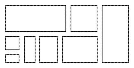 Blank Postage Stamps Set. Vector illustration blank postage stamps collection