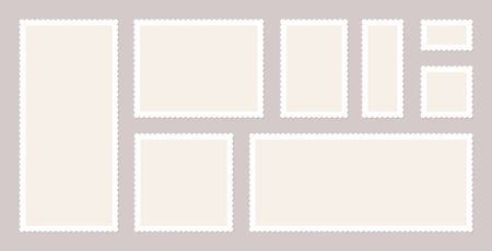 Blank Postage Stamps Set. Vector illustration blank postage stamps collection
