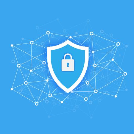 Concept d'accès de sécurité des données informatiques. Protégez les données sensibles. La sécurité sur Internet. Design plat, illustration vectorielle sur fond Vecteurs
