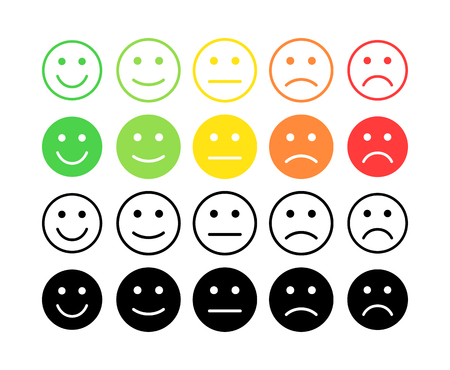 Feedback vector concept. Rank, level of satisfaction rating. Excellent, good, normal, bad awful. Feedback in form of emotions, smileys, emoji. User experience Review of consumer