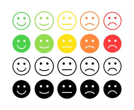 Koncepcja wektora sprzężenia zwrotnego. Ranga, poziom oceny satysfakcji. Świetnie, dobrze, normalnie, źle, okropnie. Informacje zwrotne w postaci emocji, emotikonów, emotikonów. Doświadczenie użytkownika Recenzja konsumenta Ilustracje wektorowe
