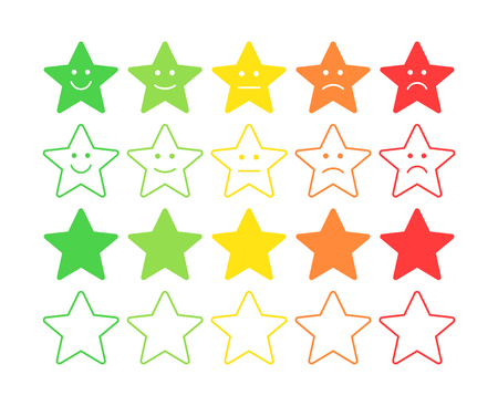Feedback vector concept. Star Rank, level of satisfaction rating. Excellent, good, normal, bad awful. Feedback in form of emotions, smileys, emoji. User experience Review of consumer