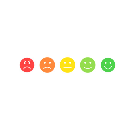 Feedback vector concept. Rank, level of satisfaction rating. Excellent, good, normal, bad awful. Feedback in form of emotions, smileys, emoji. User experience Review of consumer Reklamní fotografie - 121773030