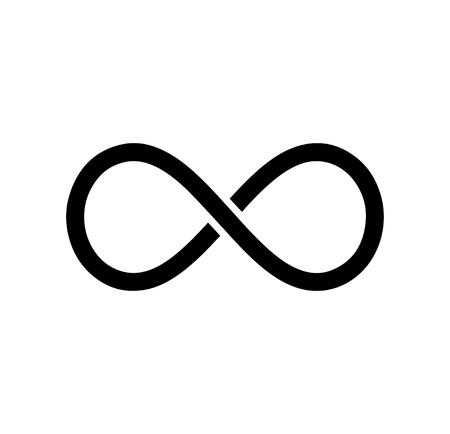 Black infinity symbol icon. Concept of infinite, limitless and endless Ilustração