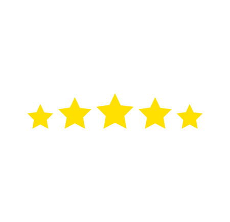 Five stars rating. Star icon. Feedback consumer or customer review evaluation banner, satisfaction level and critic icon concept. Vector illustration. Stars icon Reklamní fotografie - 121489500