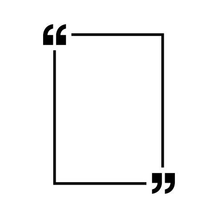 Cytaty wektor. Zarys cudzysłowów, znaki mowy, cudzysłowy lub kolekcja znaków mówiących. Wektor ilustracja linia na białym tle