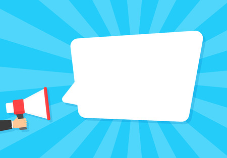 Speech bubbles announced by megaphone,flat vector illustration background  イラスト・ベクター素材