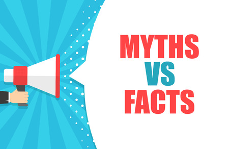 Male hand holding megaphone with Myths vs facts speech bubble. Loudspeaker. Banner for business, marketing and advertising. Vector illustration