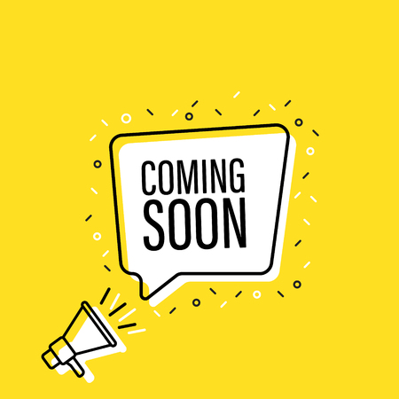 Male hand holding megaphone with Coming soon speech bubble. Loudspeaker. Banner for business, marketing and advertising. Vector illustration Vecteurs