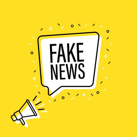 Mano masculina sosteniendo megáfono con bocadillo de diálogo de noticias falsas. Altoparlante. Banner para negocios, marketing y publicidad. Ilustración vectorial