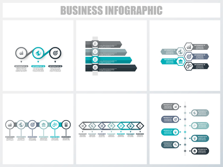 Abstract infographics number options template 3, 4, 5, 6, 7, 8. Vector illustration. Can be used for workflow layout, diagram, strategy business step options, banner and web design set