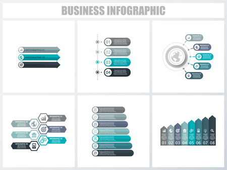 Abstrakte Infografiken Nummer Optionen Vorlage 3, 4, 5, 6, 7, 8. Vektor-Illustration. Kann für Workflow-Layout, Diagramm, Optionen für strategische Geschäftsschritte, Banner und Webdesign-Sets verwendet werden