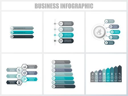 Modèle d'options de numéro d'infographie abstraite 3, 4, 5, 6, 7, 8. Illustration vectorielle. Peut être utilisé pour la mise en page du flux de travail, le diagramme, les options d'étape commerciale de la stratégie, la bannière et l'ensemble de conception Web
