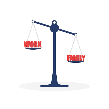 Scales. Career and family are on the scales. Work. Illustration, vector EPS 10
