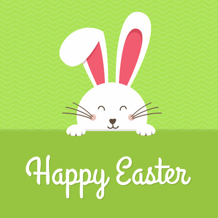 Happy Easter card with rabbit ears. Easter rabbit for Easter holidays design. Easter bunny vector illustration background