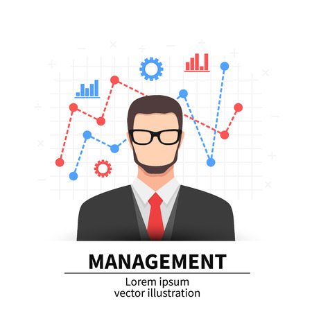 Business management flat illustration. Man with icons. Vector illustration