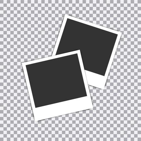 Cornice per foto realistica retrò vettoriale posta su sfondo trasparente. Vettoriali