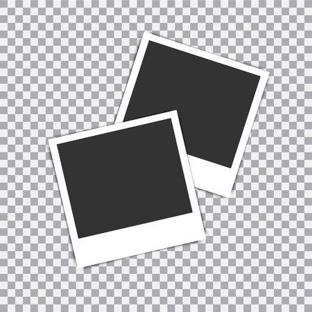 Retro realistic vector photo frame placed on transparent background. Vetores