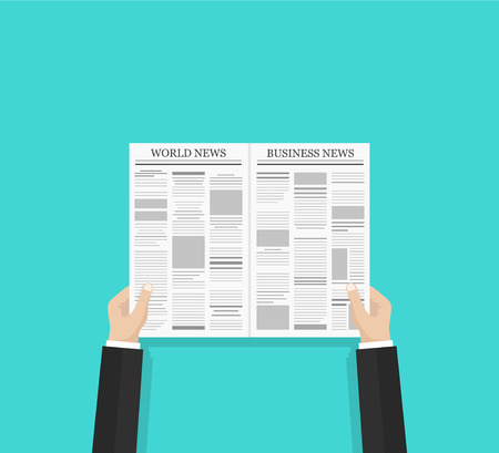 Daily business news and world news gazette concept. Opened newspaper in businessman hands. Flat style vector illustration isolated on green background