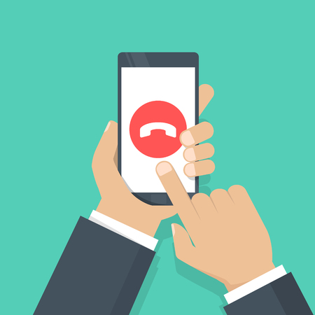 Phone call button on smartphone screen vector illustration. ancel the call. Hand holding smartphone, finger touching screen. Modern concept for web banners, web sites, infographics. Flat design