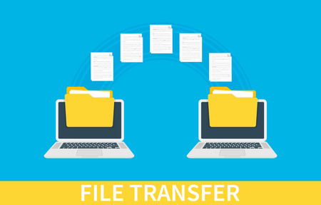 File transfer. Two laptops with folders on screen and transferred documents. Copy files, data exchange, backup, PC migration, file sharing concepts. Vector illustration