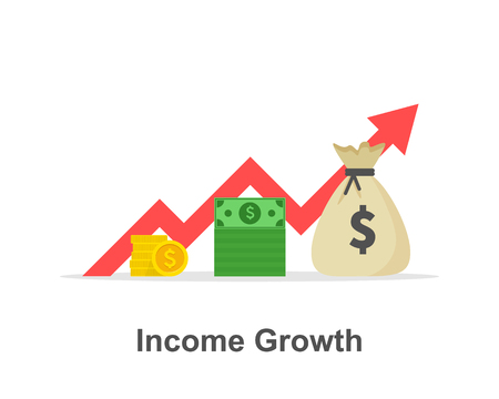 Income growth chart, banking services, financial report graph, return on investment flat icon, budget planning, mutual fund, interest rate. Vector illustration Illustration