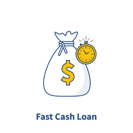 Fast Cash loan icon, fast money providence, business and finance services, timely payment, financial solution, Vector illustration