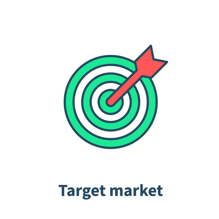 Target market concept icon, audience, focus group, crowdsourcing and crowdfunding, public relations, vector illustration line icon
