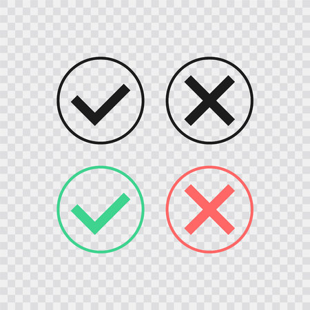 Speech bubble like dos and donts. Flat simple trend modern logotype graphic design. Concept of checklist element and reject or accept symbol for evaluation quiz. Vector illustration