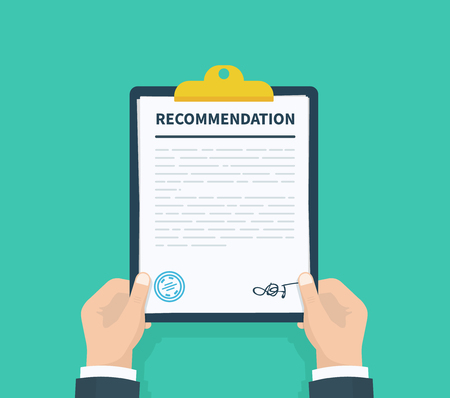 Man hold recommendation clipboard with checklist. Questionnaire, survey, clipboard, task list. Flat design, vector illustration on background
