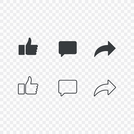 Thumbs up and with repost and comment icons on a white background. Social media icon, empathetic emoji reactions icon set