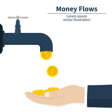 Cash flow concept. Gold coins fall. Catch money hand. Achievement success. Finance faucet. Vector illustration Ilustración de vector