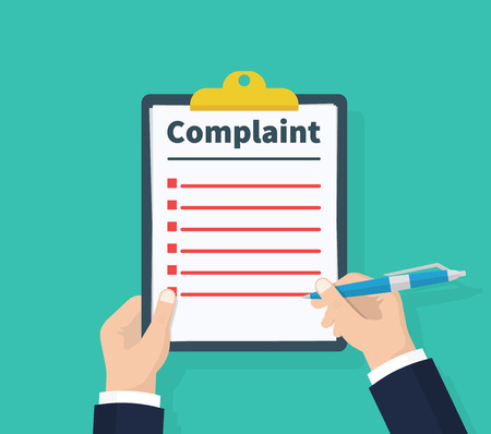 Complaint concept. Claim petition. Man hold clipboard in hand wrote a complaint. Flat design, vector illustration on green background