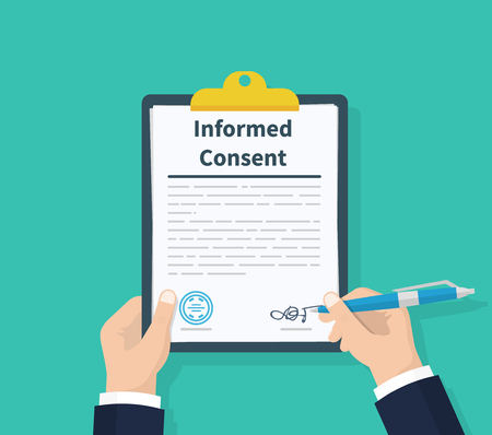 Man hold information consent. Human signs document. Business or medical agreement. Clipboard in hand. Flat design, vector illustration on background