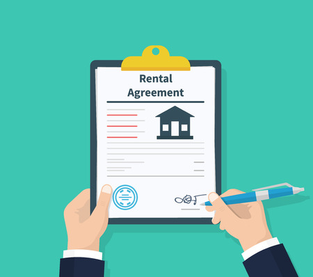 Man hold Rental agreement form contract. Clipboard in hand. Signing document. Flat design, vector illustration on background