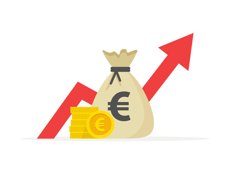 Financial performance, euro business productivity, statistic report, mutual fund, return on investment, finance consolidation, budget planning and management, income growth concept