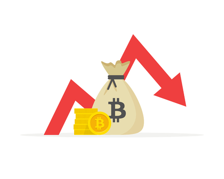 Financial indicators, business performance in the bitcoin, statistical report, mutual fund, return on investment, financial consolidation, planning and budget management, the concept falls growth Vectores