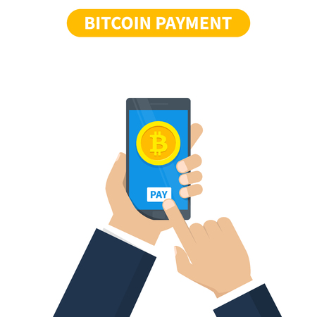 Bitcoin transaction concept. Buying cryptocurrency using smartphone wallet. Vector illustration