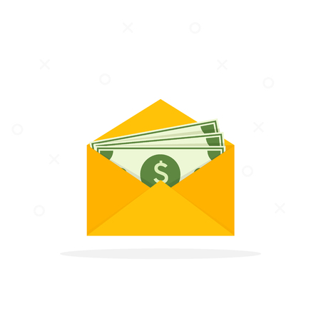Envelope with money. Open envelope with dollars. Vector illustration in flat style. Sending, receiving, rewarding. Financial gift. Cash icon Ilustrace