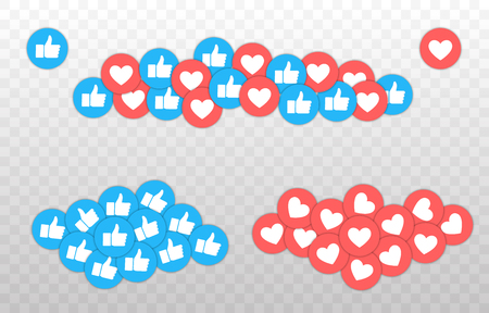 Like and Heart icon. Live stream video, chat, likes. Social nets blue thumb up like and red heart web buttons isolated on white background. Vector illustaration Ilustração