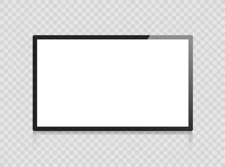 Frame TV. Monitor computer black photo frame isolated on transparent background. Vector blank screen lcd, plasma, panel TV for your design. Frontal view television. Vector illustration