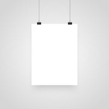 Mock-up realistico bianco poster appeso. Clip per presentazioni aziendali, posto per testo. Modello di manifesto bianco vuoto. Illustrazione vettoriale