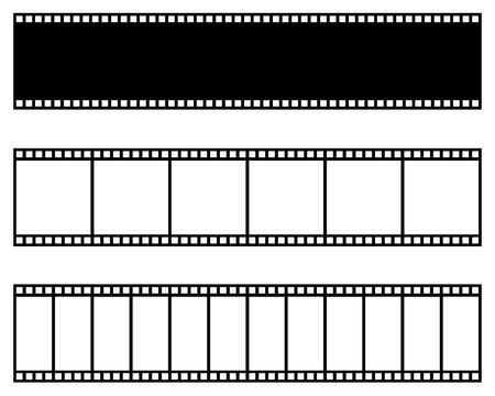 Collezione di strisce di pellicola. Modello di vettore. Cinema, cornice di pellicola per foto di film Vettoriali