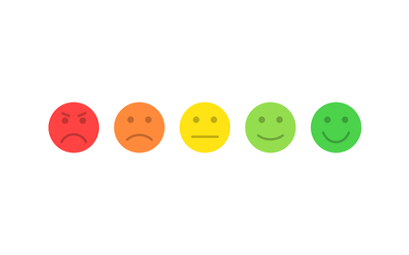 Feedback vector concept. Rank, level of satisfaction rating. Excellent, good, normal, bad awful. Feedback in form of emotions, smileys, emoji. User experience Review of consumer Reklamní fotografie - 121773487